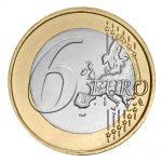 Six euro coin on white